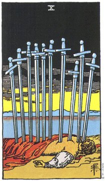 Ten of swords tarot card meaning
