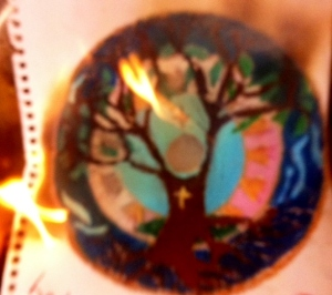 Tree of life love heart flame